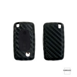 Silikon Carbon-Look Schlüssel Cover passend für Citroen, Peugeot, Fiat Schlüssel schwarz SEK3-PX2