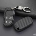 Silikon Carbon-Look Schlüssel Cover passend für Jeep, Fiat Schlüssel schwarz SEK3-J4