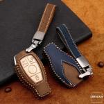 Premium Leder Cover passend für Mercedes-Benz Autoschlüssel inkl. Lederband und Karabiner  LEK31-M8