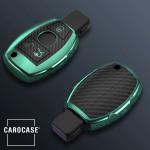 Glossy Carbon-Look Schlüssel Cover passend für Mercedes-Benz Schlüssel  SEK14-M7