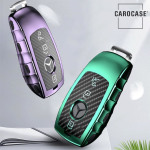 Glossy Carbon-Look Schlüssel Cover passend für Mercedes-Benz Schlüssel  SEK14-M9