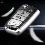 Silikon Leder-Look Schlüssel Cover passend für Volkswagen, Skoda, Seat Schlüssel  SEK13-V3