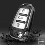 Silikon Leder-Look Schlüssel Cover passend für Audi Schlüssel  SEK13-AX3