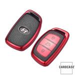 Silikon Leder-Look Schlüssel Cover passend für Hyundai Schlüssel  SEK13-D1