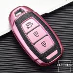 Silikon Leder-Look Schlüssel Cover passend für Hyundai Schlüssel  SEK13-D9