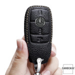 Premium Leder Schlüsseletui passend für Mercedes-Benz Schlüssel braun LEK62-M9-2