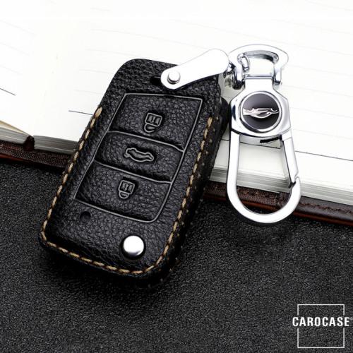 Premium Leder Schlüsseletui passend für Volkswagen, Skoda, Seat Schlüssel schwarz LEK62-V3X-1