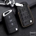 Premium Leder Schlüsseletui passend für Volkswagen, Skoda, Seat Schlüssel braun LEK62-V3X-2
