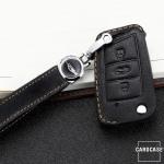 Premium Leder Schlüsseletui passend für Volkswagen, Skoda, Seat Schlüssel  LEK62-V3