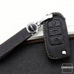 Premium Leder Schlüsseletui passend für Volkswagen, Skoda, Seat Schlüssel  LEK62-V2