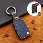 Premium Leder Cover passend für Volkswagen, Skoda, Seat Schlüssel + Anhänger  LEK60-V3X