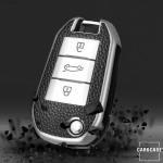Silikon Leder-Look Schlüssel Cover passend für Opel, Citroen, Peugeot Schlüssel  SEK13-P3
