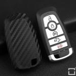 Silikon Carbon-Look Schlüssel Cover passend für Ford Schlüssel schwarz SEK3-F9