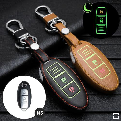 Leder Schlüssel Cover passend für Nissan Schlüssel  LEUCHTEND! LEK2-N5