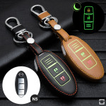 Luminous glow leather key case/cover for Nissan car keys