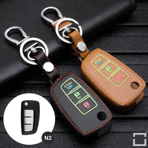 Leder Schlüssel Cover passend für Nissan Schlüssel  LEUCHTEND! LEK2-N2