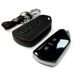 Leather key case/cover incl. keychain for Volkswagen remote key
