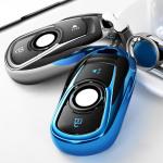 Black-Glossy Silikon Schutzhülle mit Tastenabdeckung für Opel Autoschlüssel OP15  SEK7-OP13