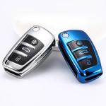 Black-Glossy Silikon Schutzhülle passend für Audi Schlüssel  SEK7-AX3