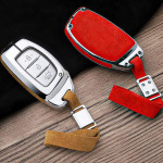 Aluminium, Alcantara Leder Schlüssel Cover passend für Hyundai Schlüssel  HEK31-D1-D2