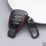 Leder Schlüssel Cover mit Ziernahnt passend für  Schlüssel  LEK18-M4